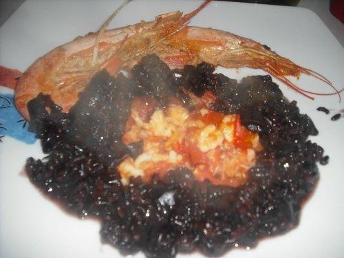 riso venere con gamberoni e calamari 4