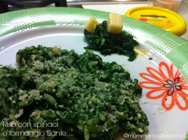 Riso con spinaci e formaggio filante