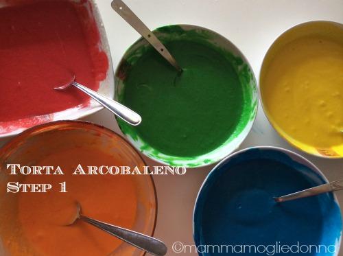 Torta arcobaleno - rainbow cake step 1