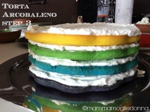 Torta arcobaleno - rainbow cake step 3