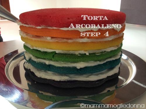 Torta arcobaleno - rainbow cake step 4