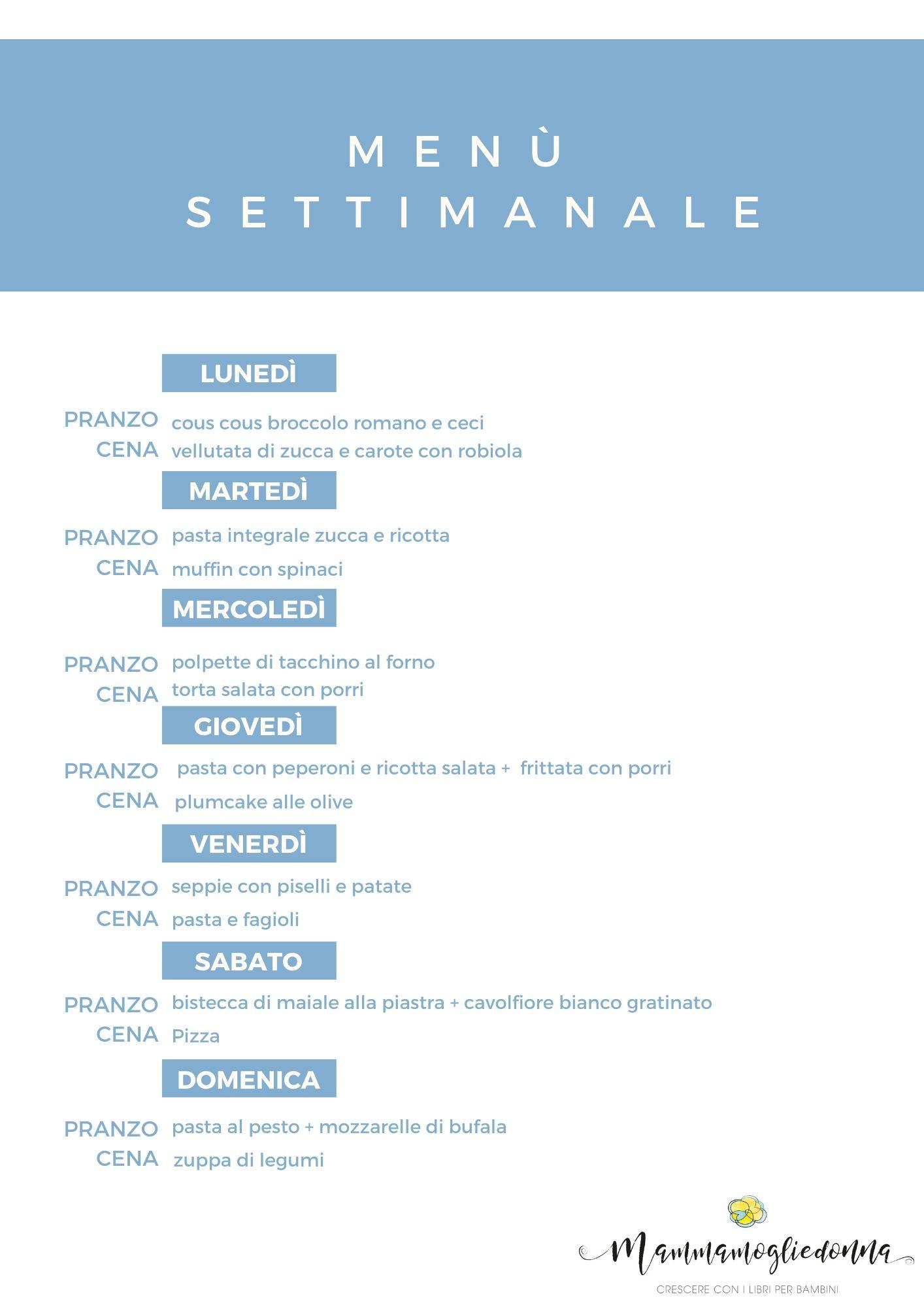 Organizzare Il Menu Della Settimana menù settimanale novembre pranzo e cena (con ricette